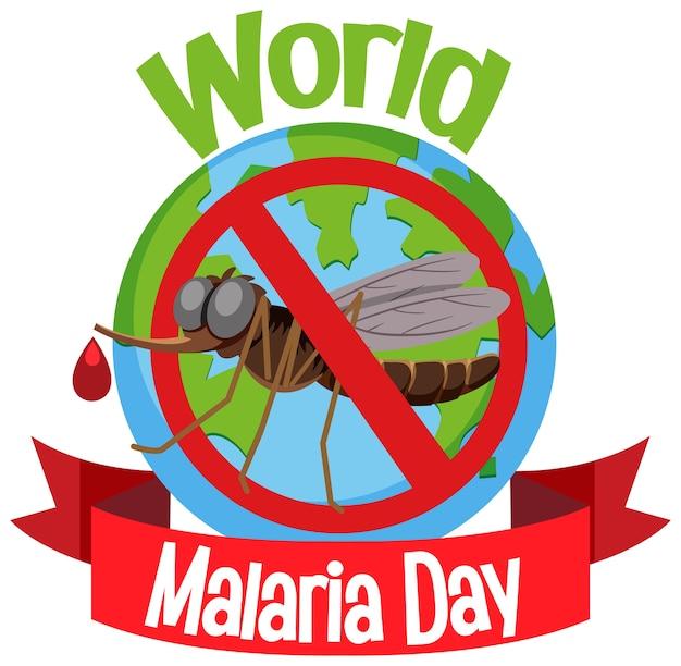 Logo lub baner światowego dnia malarii bez komara na tle ziemi