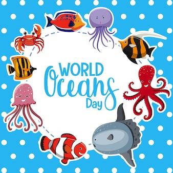 Logo lub baner światowego dnia oceanów z różnymi zwierzętami morskimi