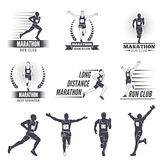 Logo lub etykiety dla biegaczy.