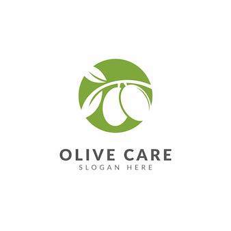 Logo lub ikona oliwy z oliwek, zdrowa żywność, kolor zielony