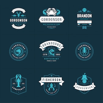 Logo lub znaki owoców morza ustawiają szablony targów rybnych i restauracji
