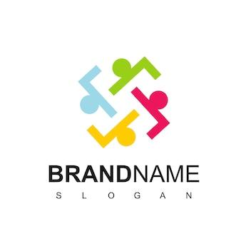 Logo ludzi, praca zespołowa, działalność charytatywna, symbol społeczności