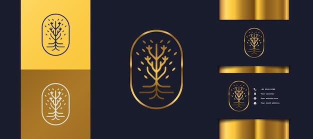 Logo luksusowego złotego drzewa z liśćmi w kole, może być używane do logo hoteli, spa, urody lub nieruchomości