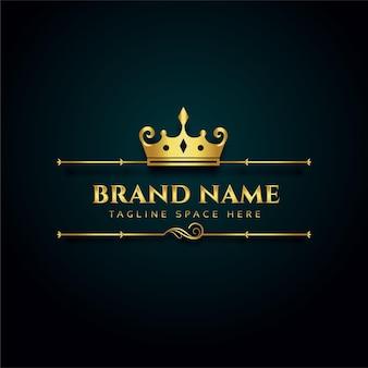 Logo luksusowej marki ze złotą koroną
