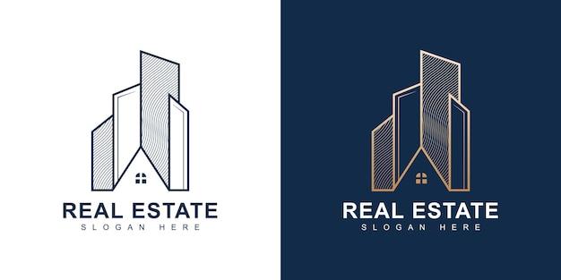 Logo luksusowej nieruchomości z koncepcją grafiki liniowej