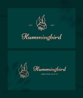Logo luksusowej sztuki linii kolibra