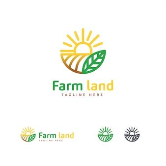 Logo luksusowych gruntów rolnych, szablon logo rolnictwa
