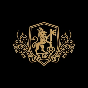 Logo lwa w luksusowym stylu na czarnym tle