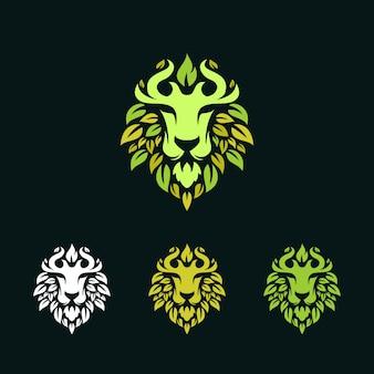 Logo lwa z liśćmi