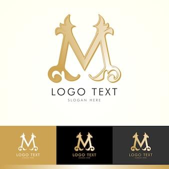 Logo m, monogram m, gold, vector m, logo design