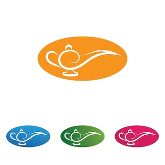 Logo magicznej lampy i grafika wektorowa ikony