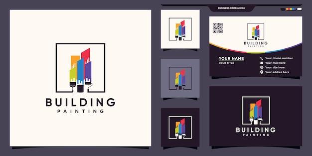 Logo malarstwa budowlanego z logo inspiracji w kolorze tęczy i pędzlem oraz projekt wizytówki