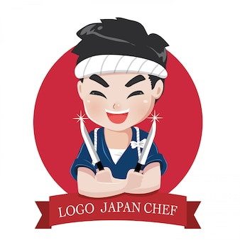 Logo małego szefa kuchni japońskiego chłopca to szczęśliwy, smaczny i pewny siebie uśmiech,