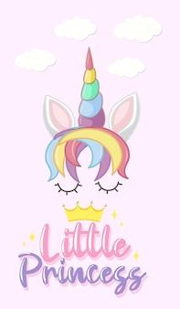 Logo małej księżniczki w pastelowym kolorze z uroczym jednorożcem