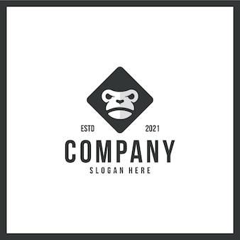 Logo małpy, dzika przyroda, szympans, znak towarowy, z czarno-białą kolorystyką