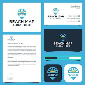 Logo mapy plaży premium