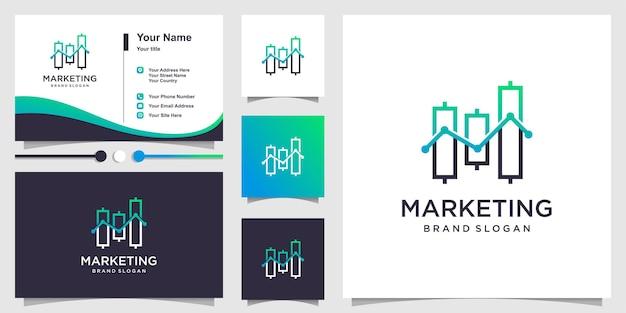 Logo marketingowe z kreatywną koncepcją wykresu i szablonem wizytówki premium wektor