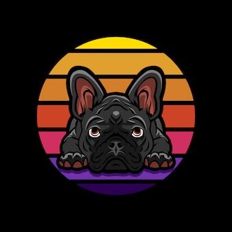 Logo maskotka buldog francuski