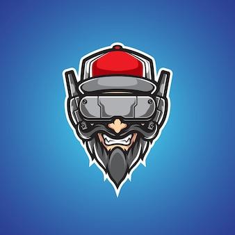 Logo maskotka cyborga starego człowieka