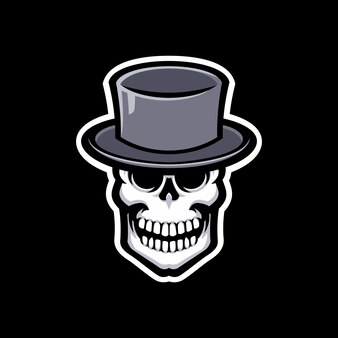 Logo maskotka czaszki na białym tle