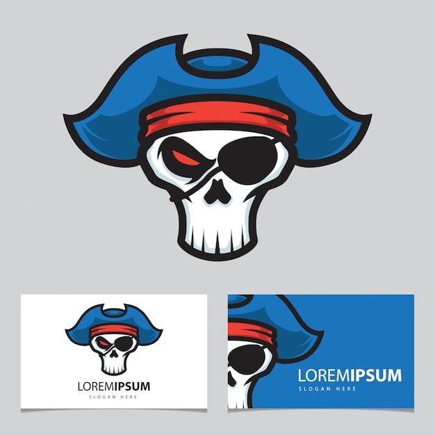 Logo maskotka czaszki piratów