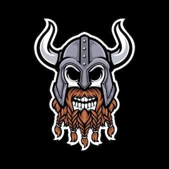 Logo maskotka czaszki wikingów na białym tle