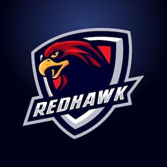 Logo maskotka czerwony jastrząb