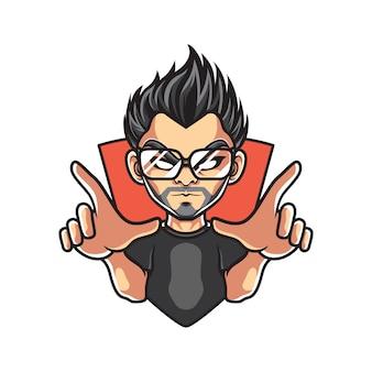Logo maskotka człowieka hipster