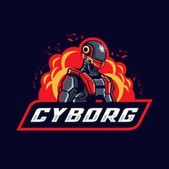 Logo maskotka e-sport cyborg