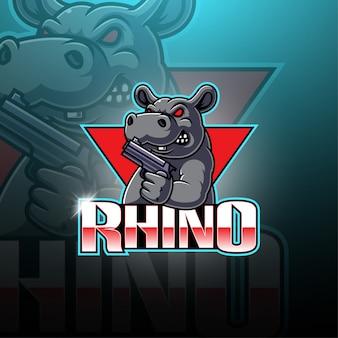 Logo maskotka e-sport rhino