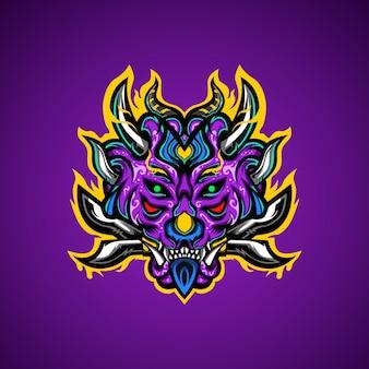 Logo Maskotka Esport Głodny Potwór Premium Wektorów