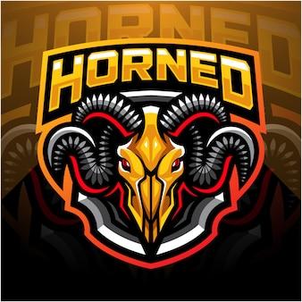 Logo maskotka esport głowy czaszki kozy