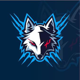 Logo maskotka esport głowy wilka