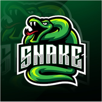 Logo maskotka esport zielony wąż