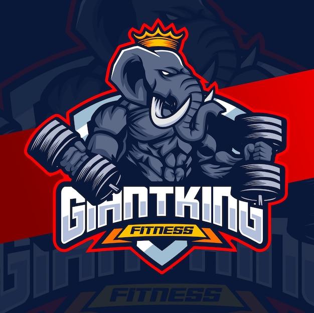 Logo maskotka fitness słoń mięśni