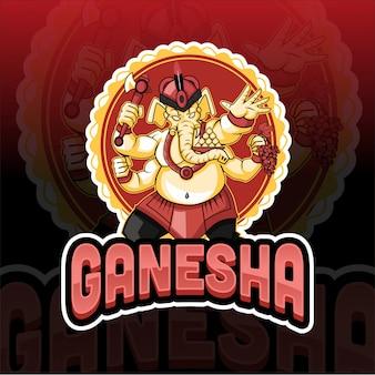 Logo Maskotka Ganesha Słoń Maskotka Premium Wektorów