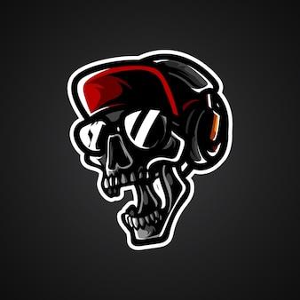 Logo Maskotka Głowa Czaszki Hipster Premium Wektorów