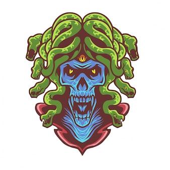 Logo maskotka głowa czaszki meduzy