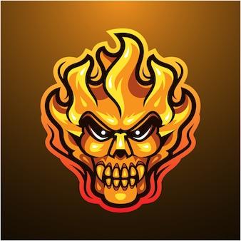 Logo maskotka głowa ognia czaszki