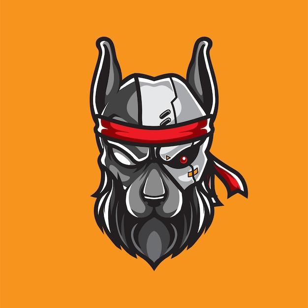 Logo maskotka głowa psa cyborga