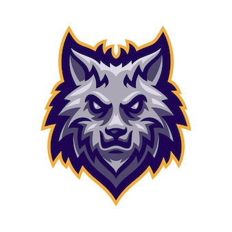 Logo maskotka głowa wilka wektor