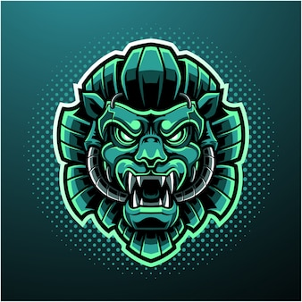 Logo maskotka głowa zielonego lwa