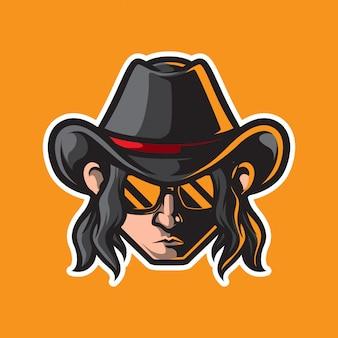 Logo maskotka głowy kowboja