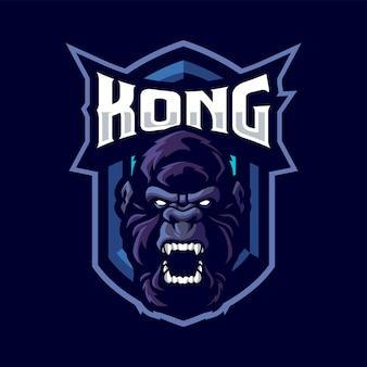 Logo maskotka goryl głowy dla sportu i e-sportu na białym tle