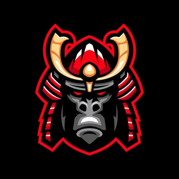 Logo maskotka goryl samuraj