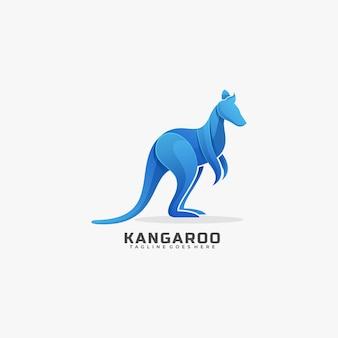 Logo maskotka kangur gradientowy kolorowy styl.