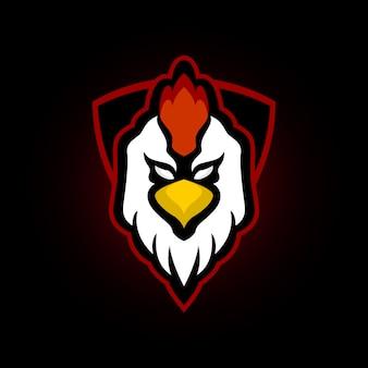 Logo maskotka kurczaka koguta dla e drużyny sportowej