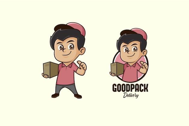 Logo maskotka kurier chłopiec