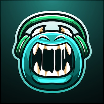 Logo maskotka ładny potwór esport