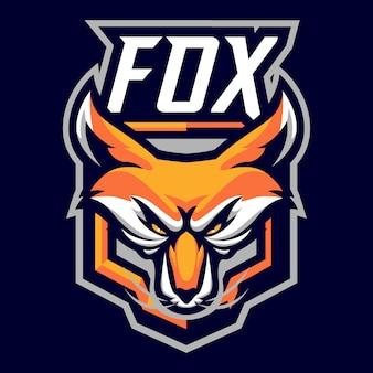 Logo maskotka lis głowy dla sportu i e-sportu na białym tle